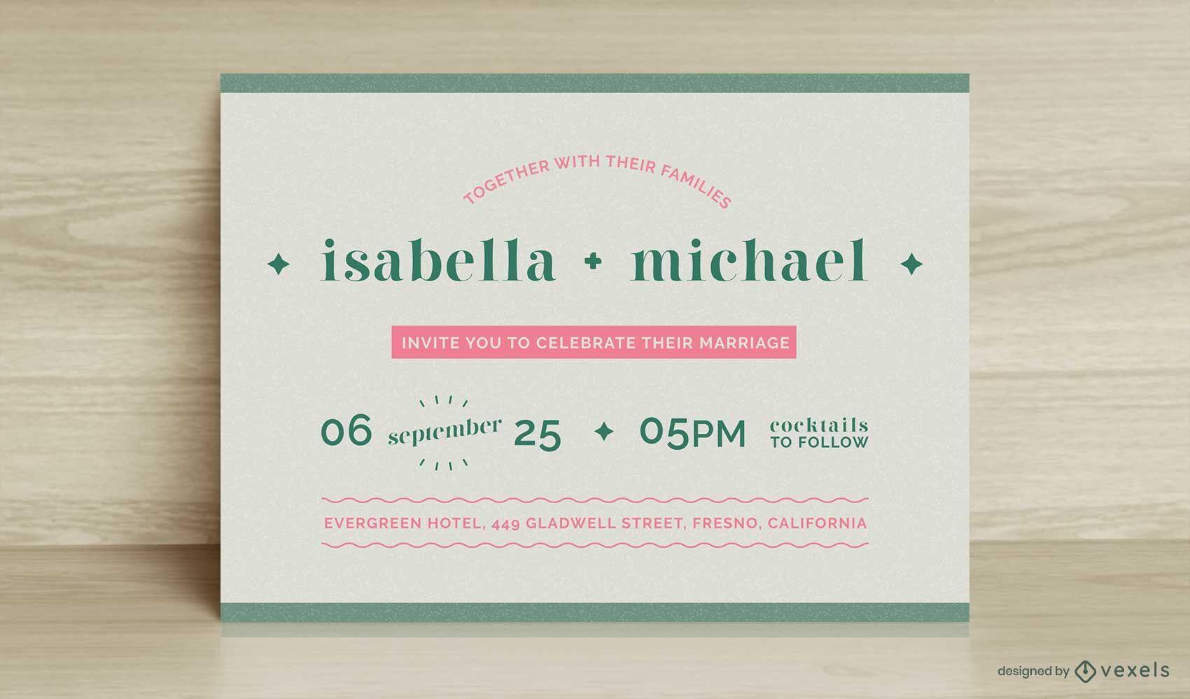 Flache Vorlage für das Hochzeitskartendesign card