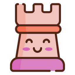 Rook cute chess piece color stroke