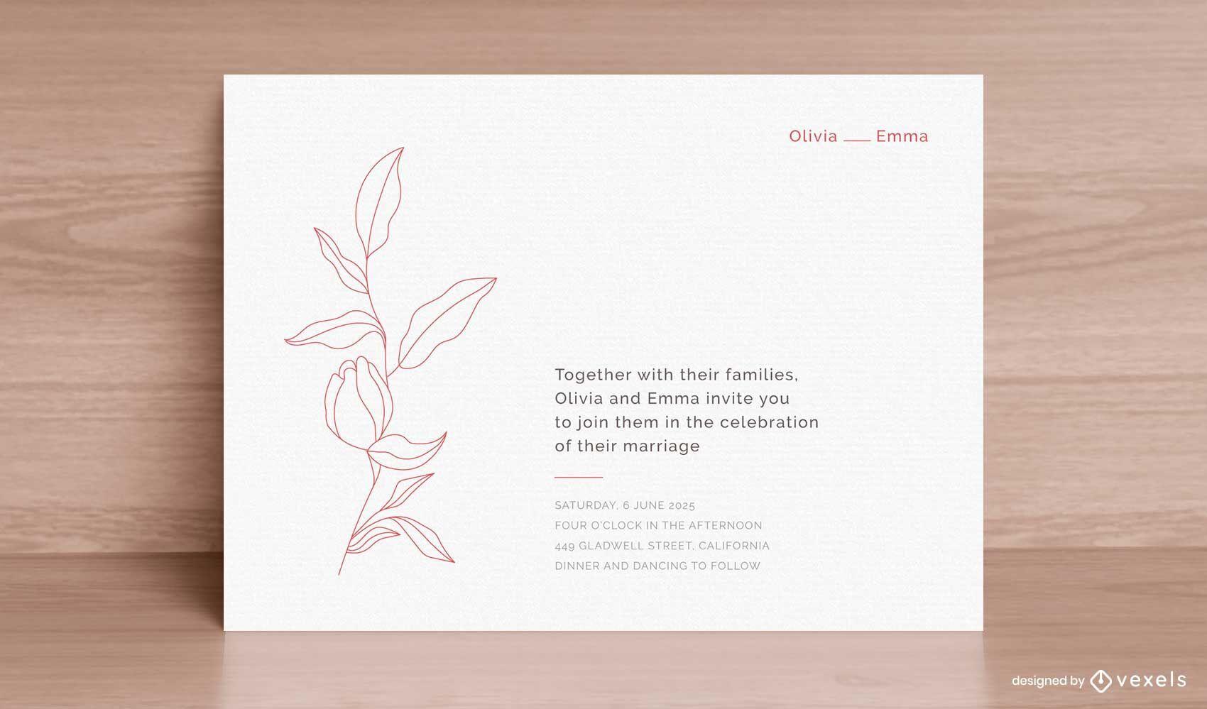 Plantilla de invitación de boda minimalista plana