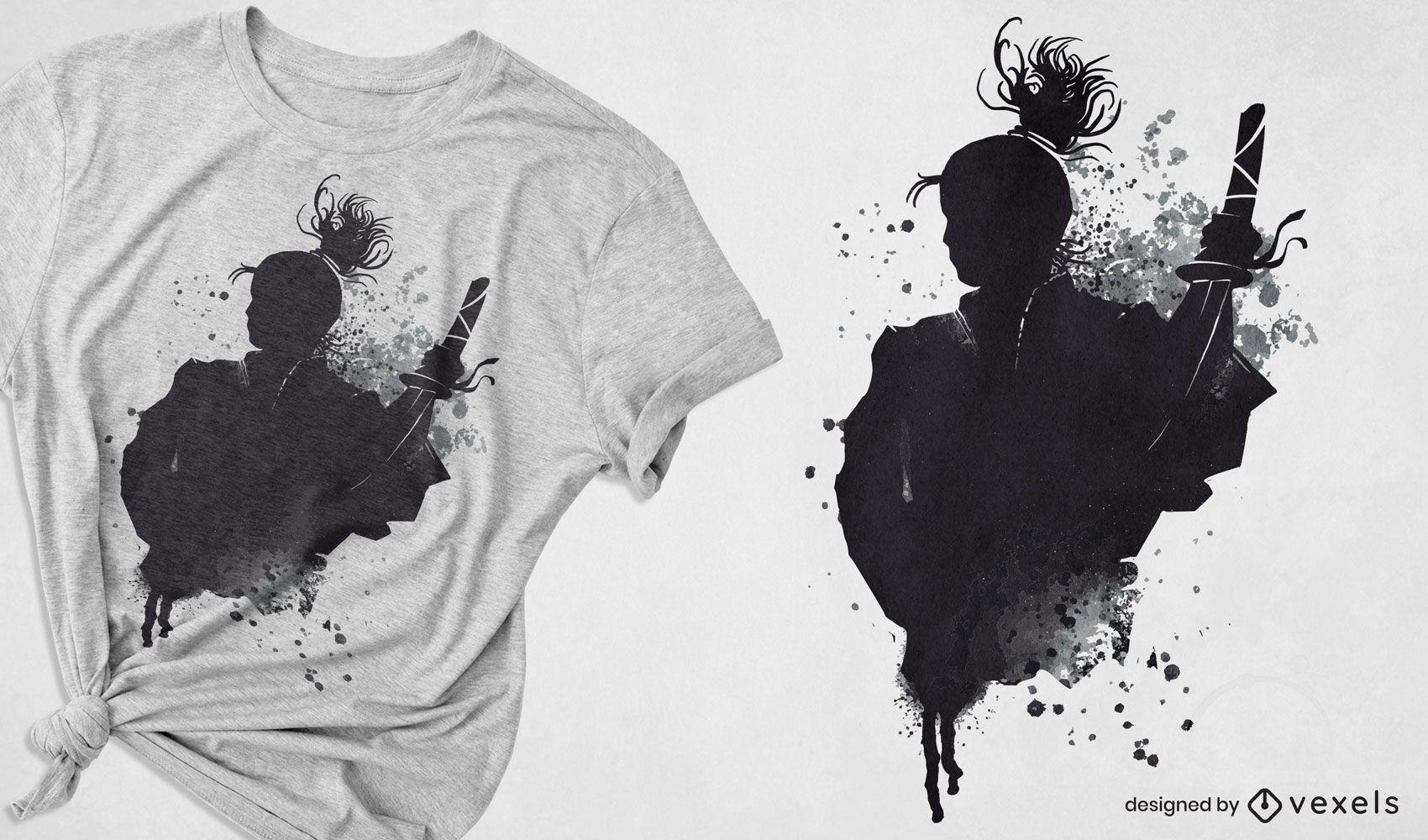 Diseño de camiseta japonesa samurai warrior ink art