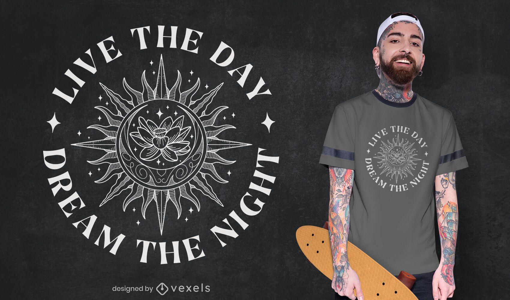 Desenho de t-shirt da linha da natureza da flor de lótus