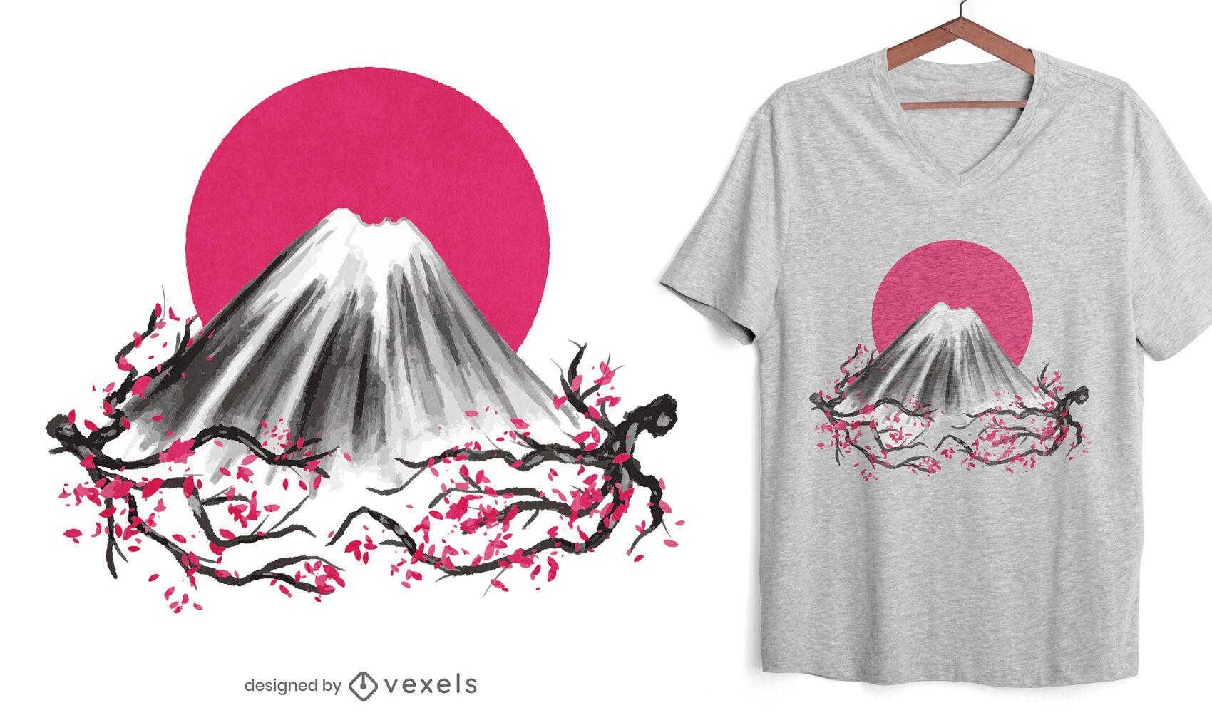Fuji mountain Japanese nature t-shirt design