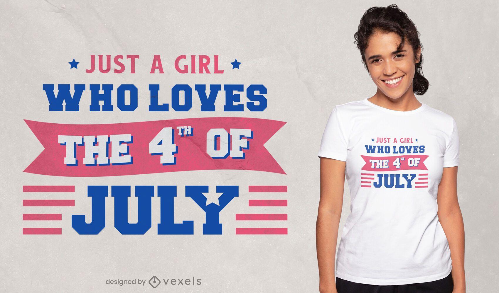 Diseño de camiseta de cita de niña de amor del cuatro de julio