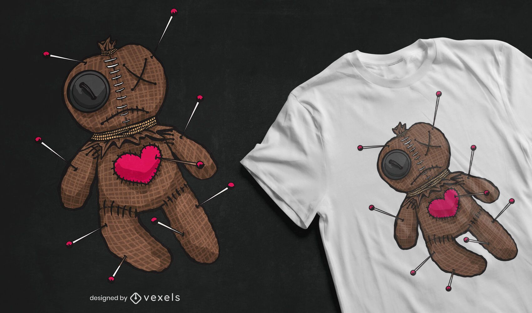 Design de camiseta com ilustração de boneca vodu