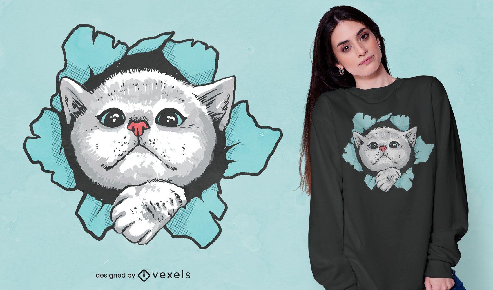 Diseño de camiseta lindo gato a través del agujero