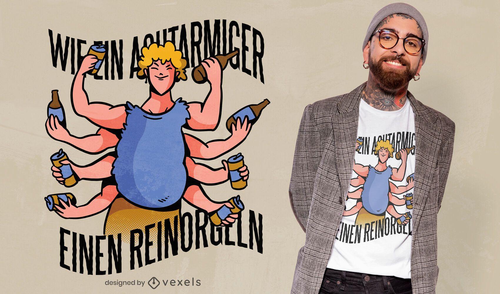 Diseño de camiseta de hombre de ocho brazos.