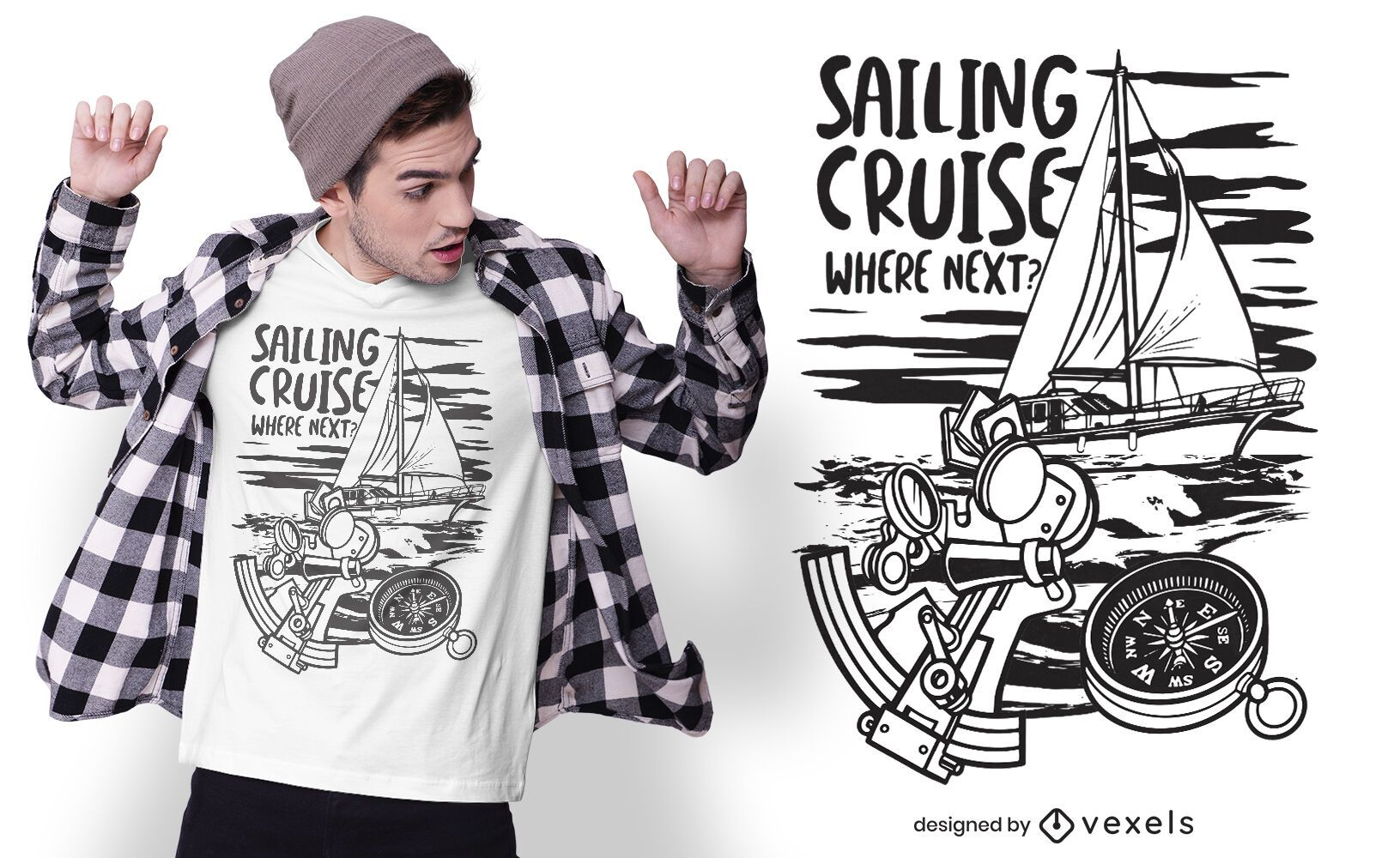 Design de t-shirt para cruzeiro à vela
