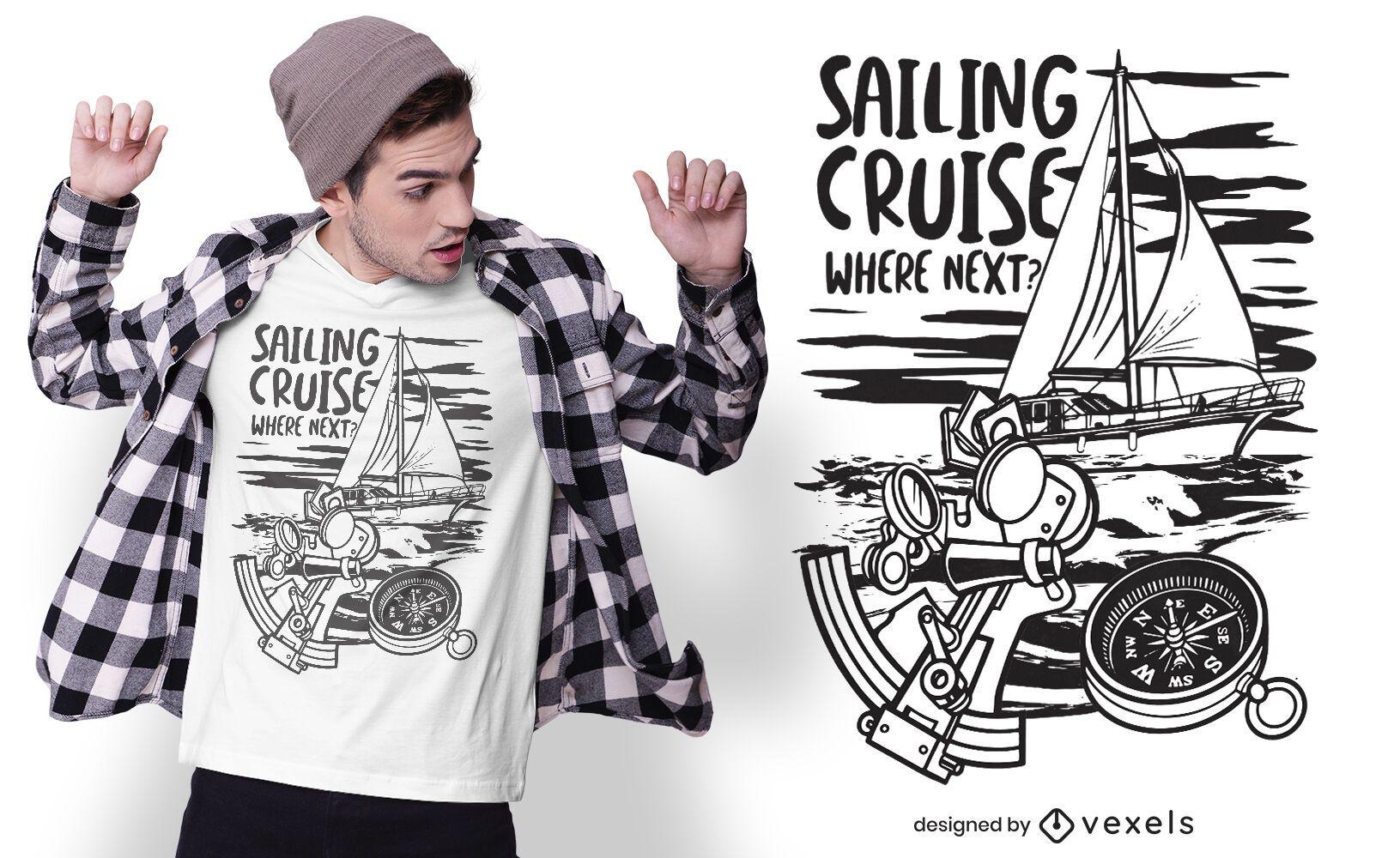Diseño de camiseta de crucero de vela.