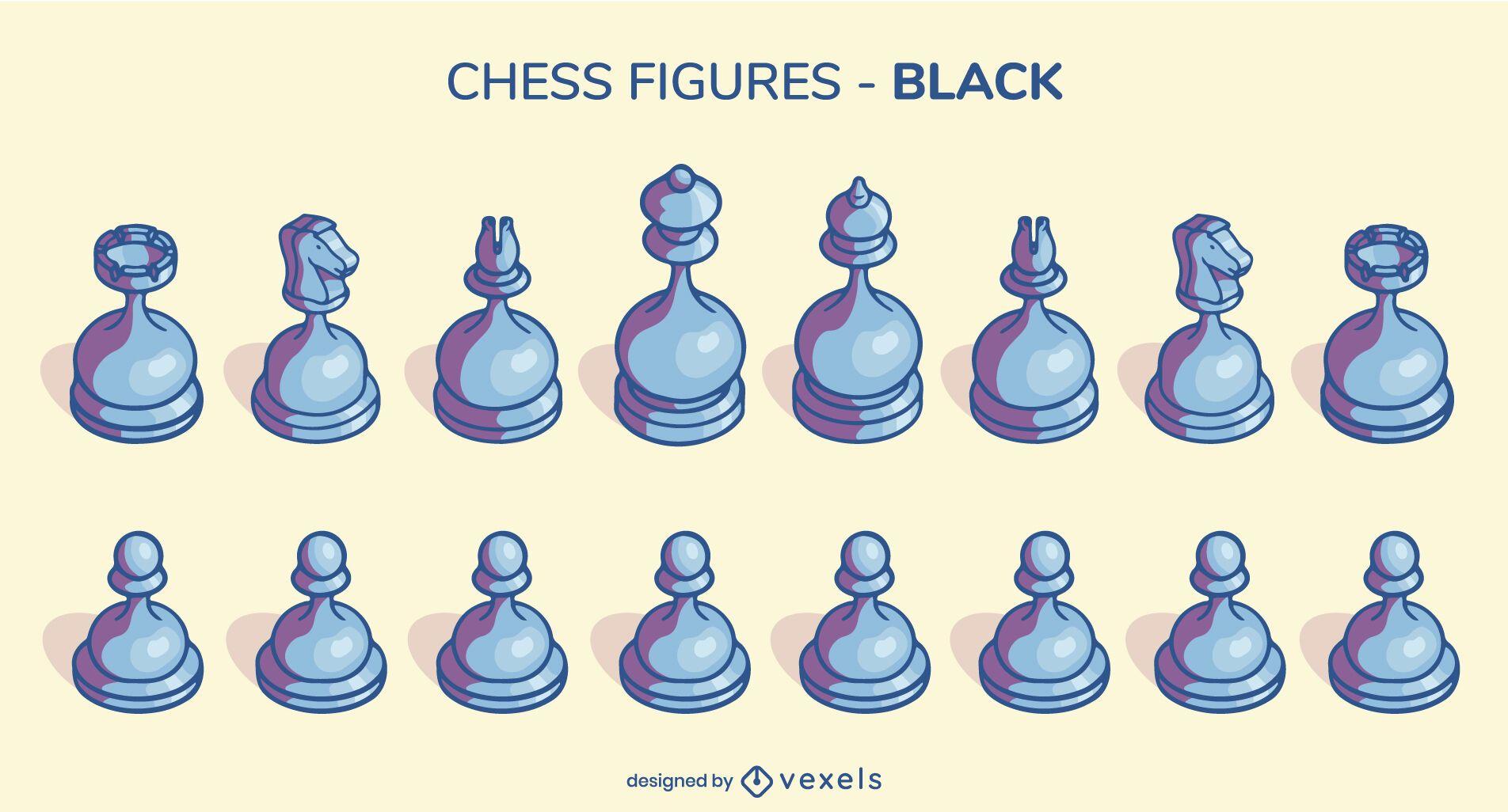 Set of dark rounded chess figures illustration