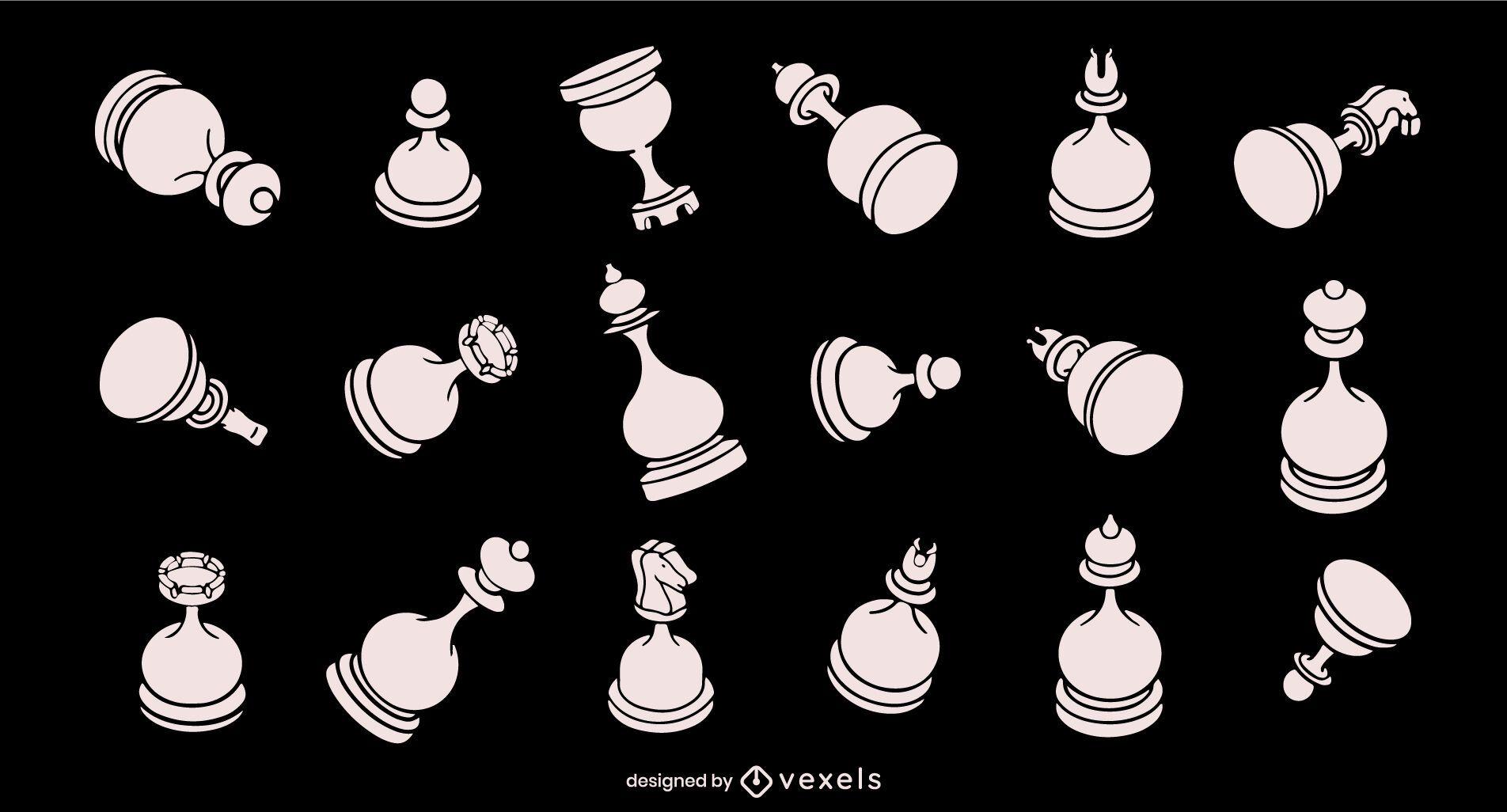 Conjunto de piezas de ajedrez redondeadas de trazo blanco