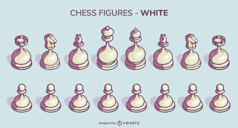 Conjunto de piezas de ajedrez redondeadas blancas ilustración