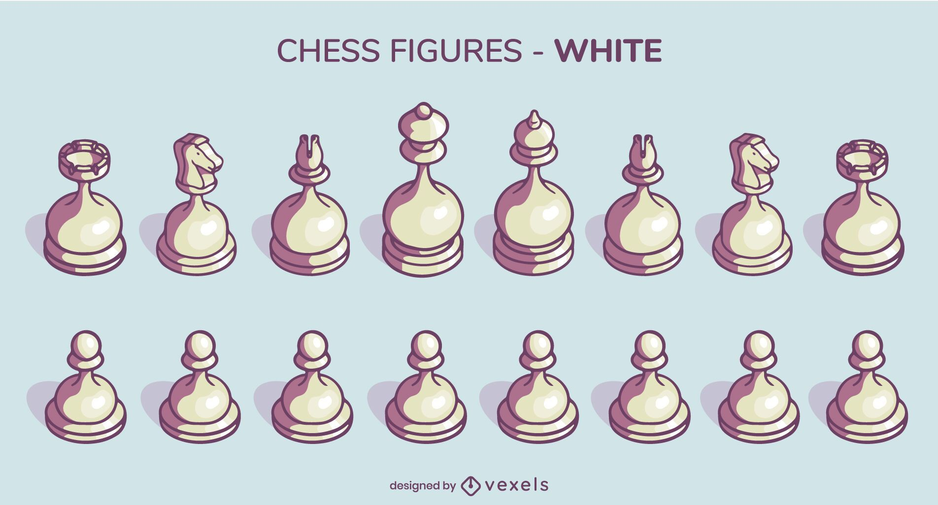 White rounded chess pieces set illustration