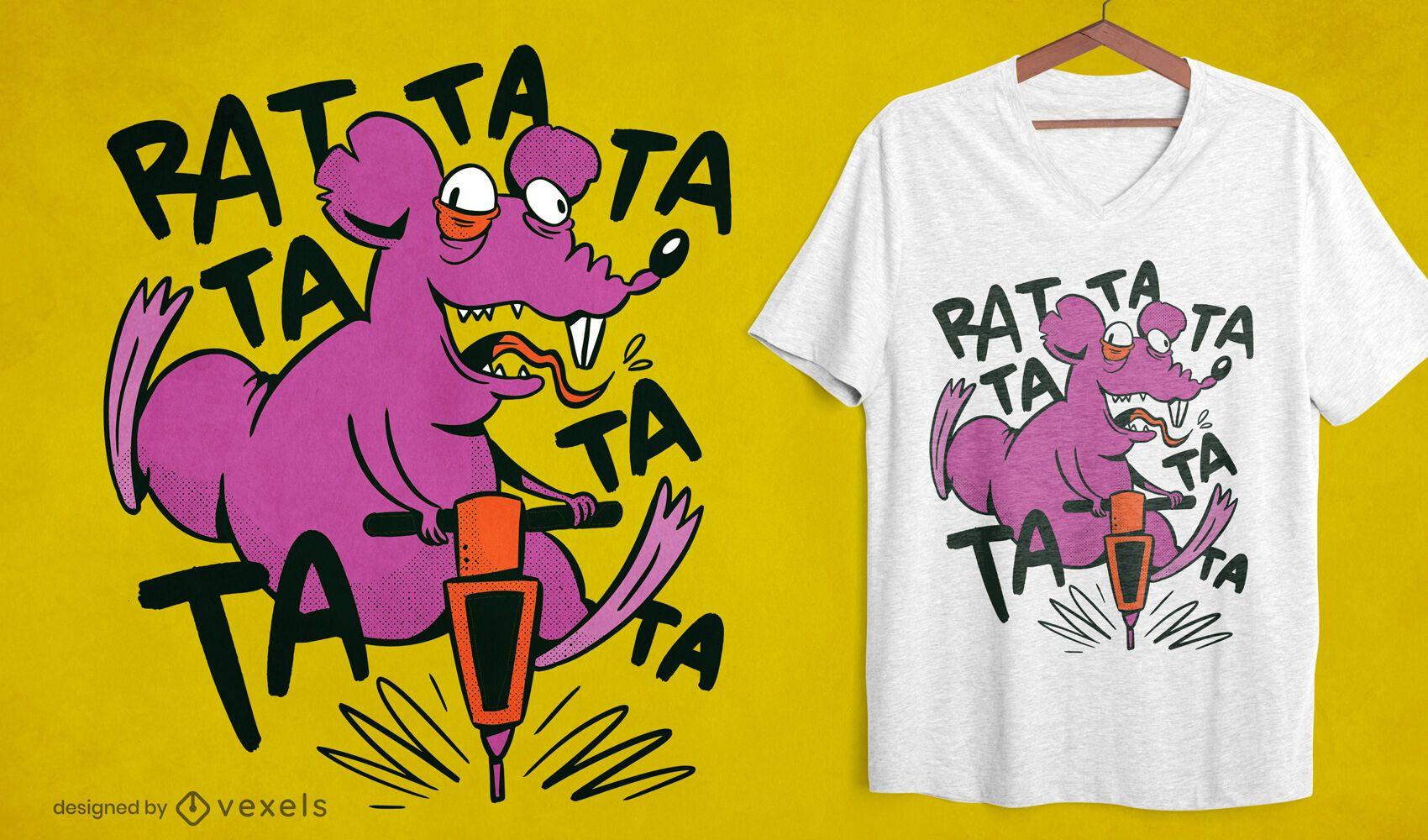 Diseño de camiseta de rata loca