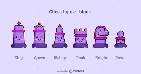 Kawaii chess pieces color stroke set