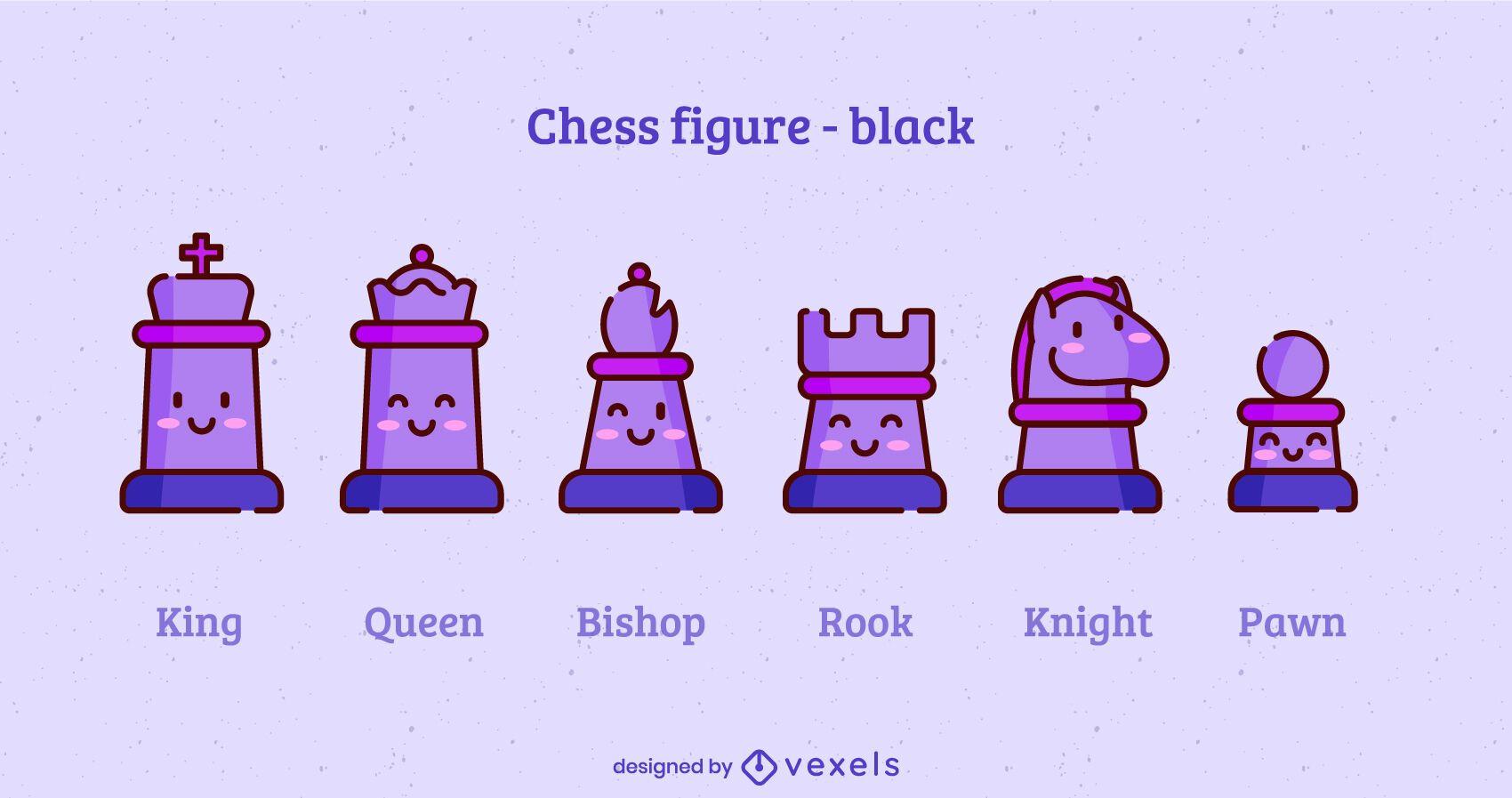 Juego de trazos de color de piezas de ajedrez kawaii