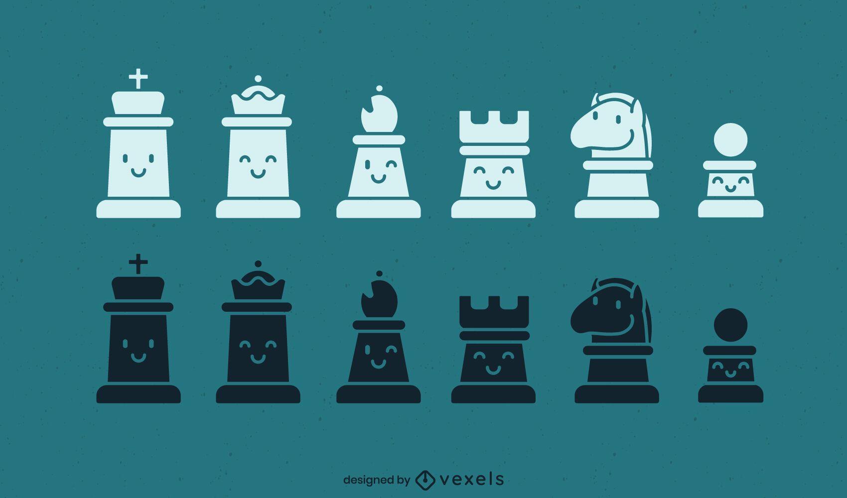 Juego de piezas de ajedrez kawaii recortadas