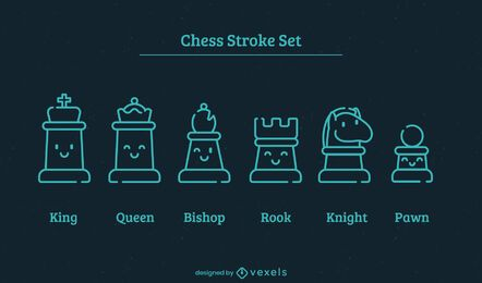 Juego de trazos de piezas de ajedrez kawaii