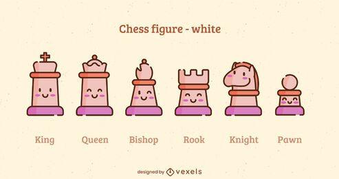 Juego de trazos de color de piezas de ajedrez blanco kawaii
