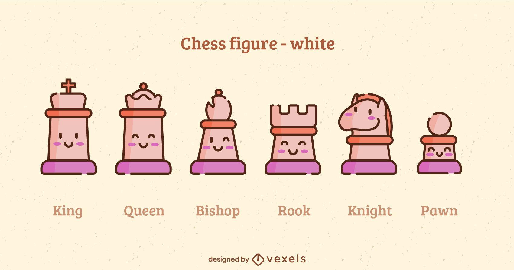 Kawaii white chess pieces color stroke set