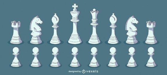 Conjunto de ilustración de color de piezas de ajedrez blanco