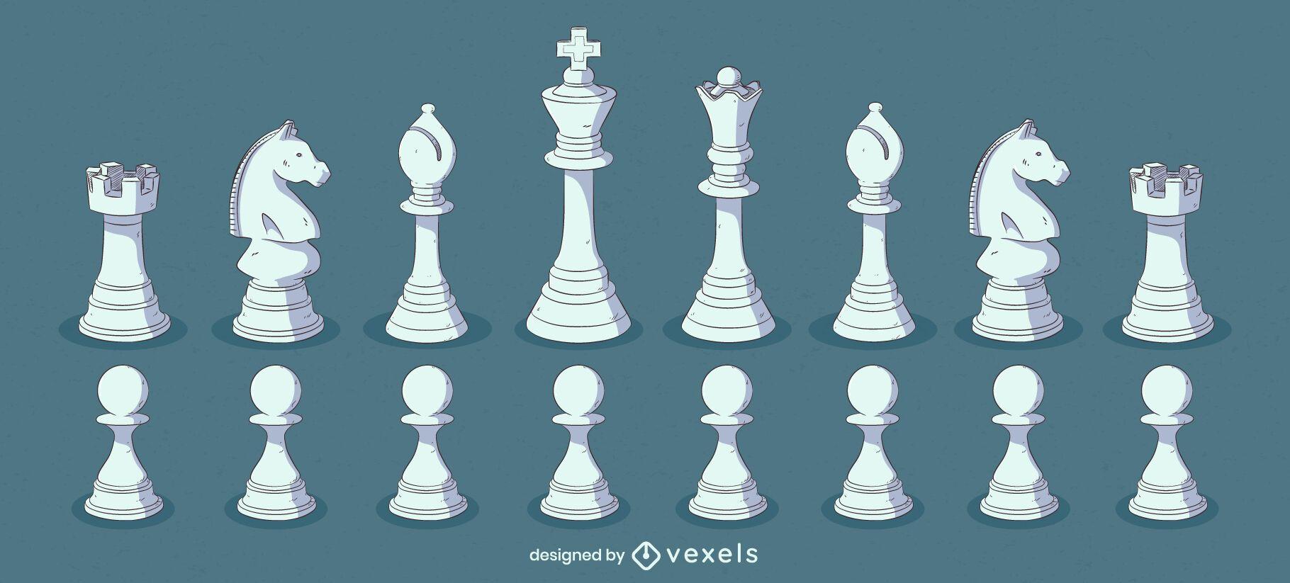 Conjunto de ilustração de cores de peças de xadrez brancas