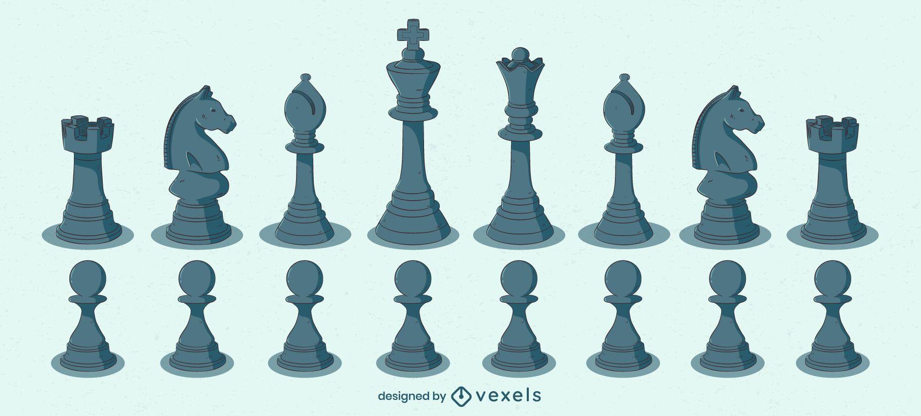 Black chess pieces color illustration set
