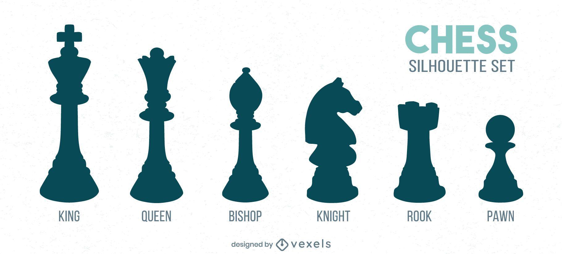 Conjunto de siluetas detalladas de piezas de ajedrez