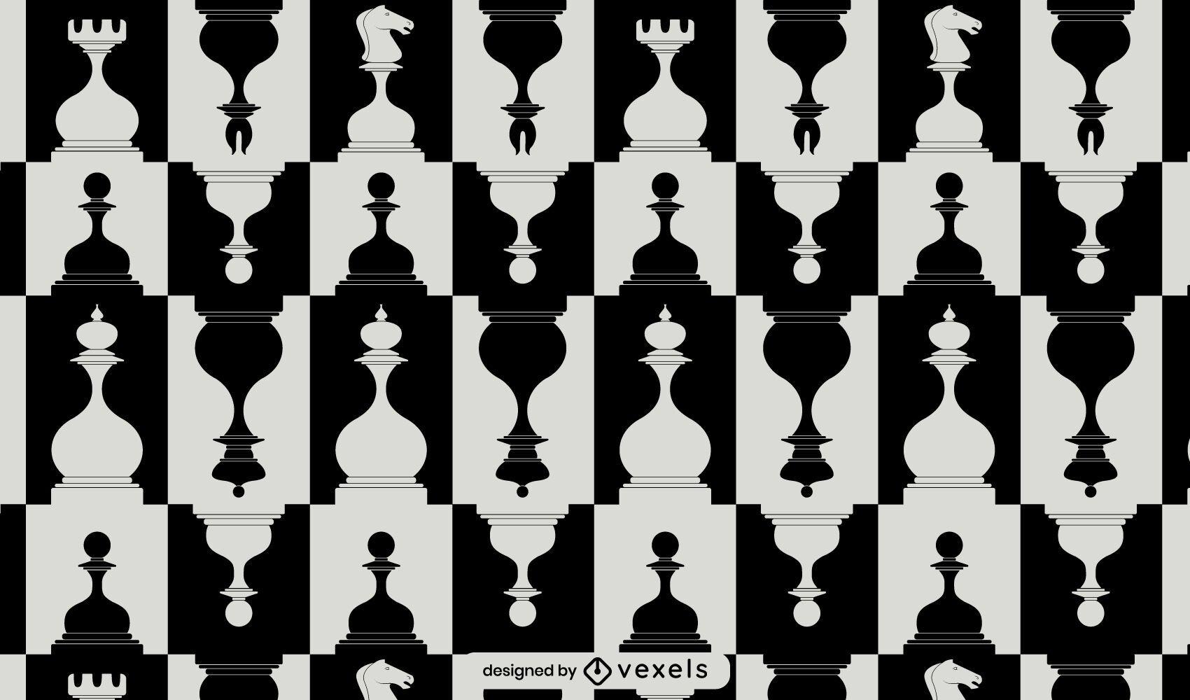 Padrão de peças de xadrez preto e branco