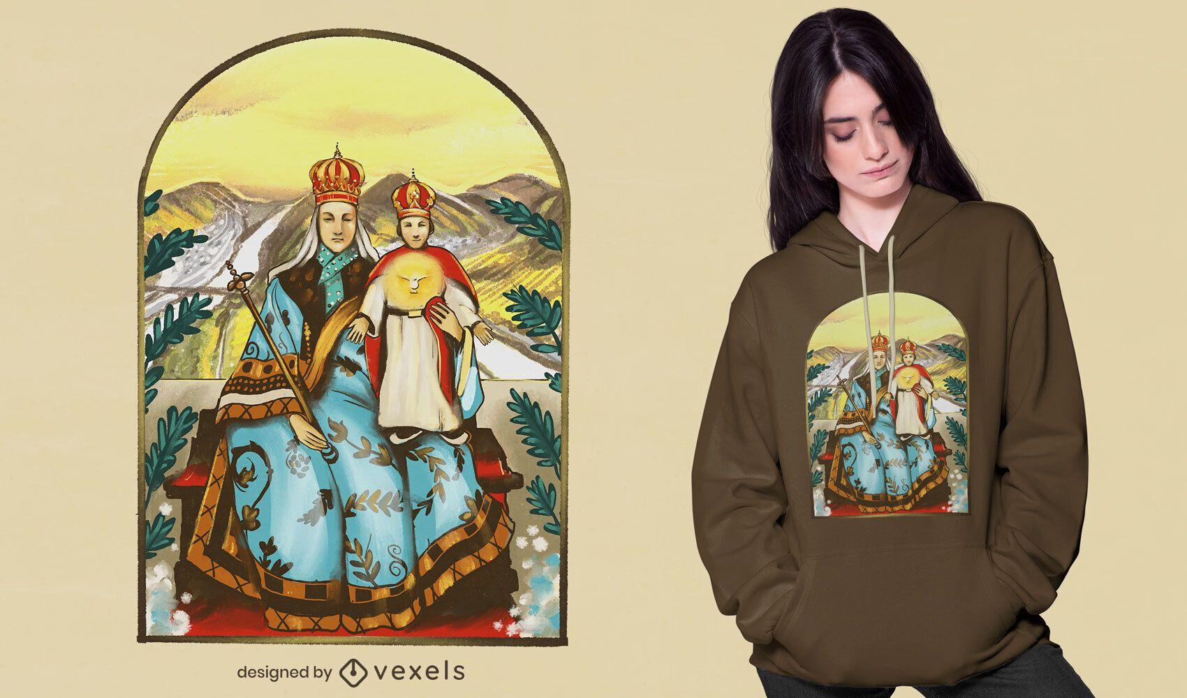 Camiseta com ilustração do rei e do príncipe psd