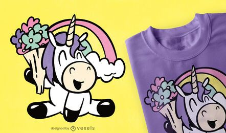 Cute flower unicorn t-shirt design