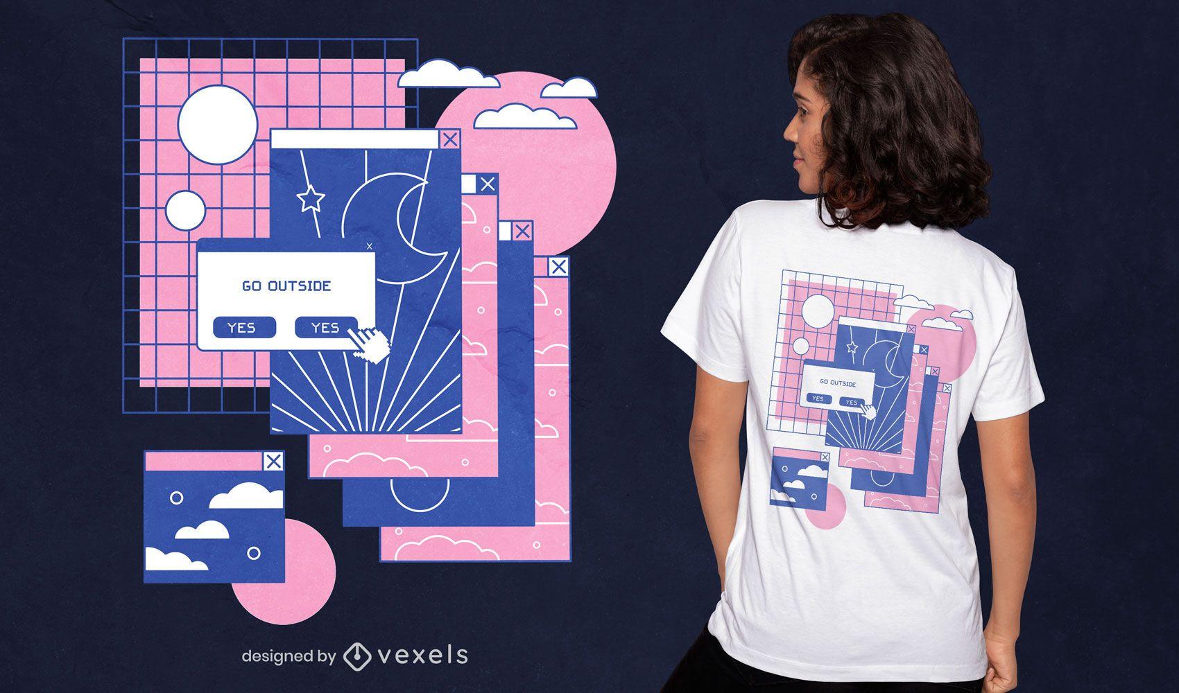 Diseño de camiseta de vaporwave con pestañas de computadora.