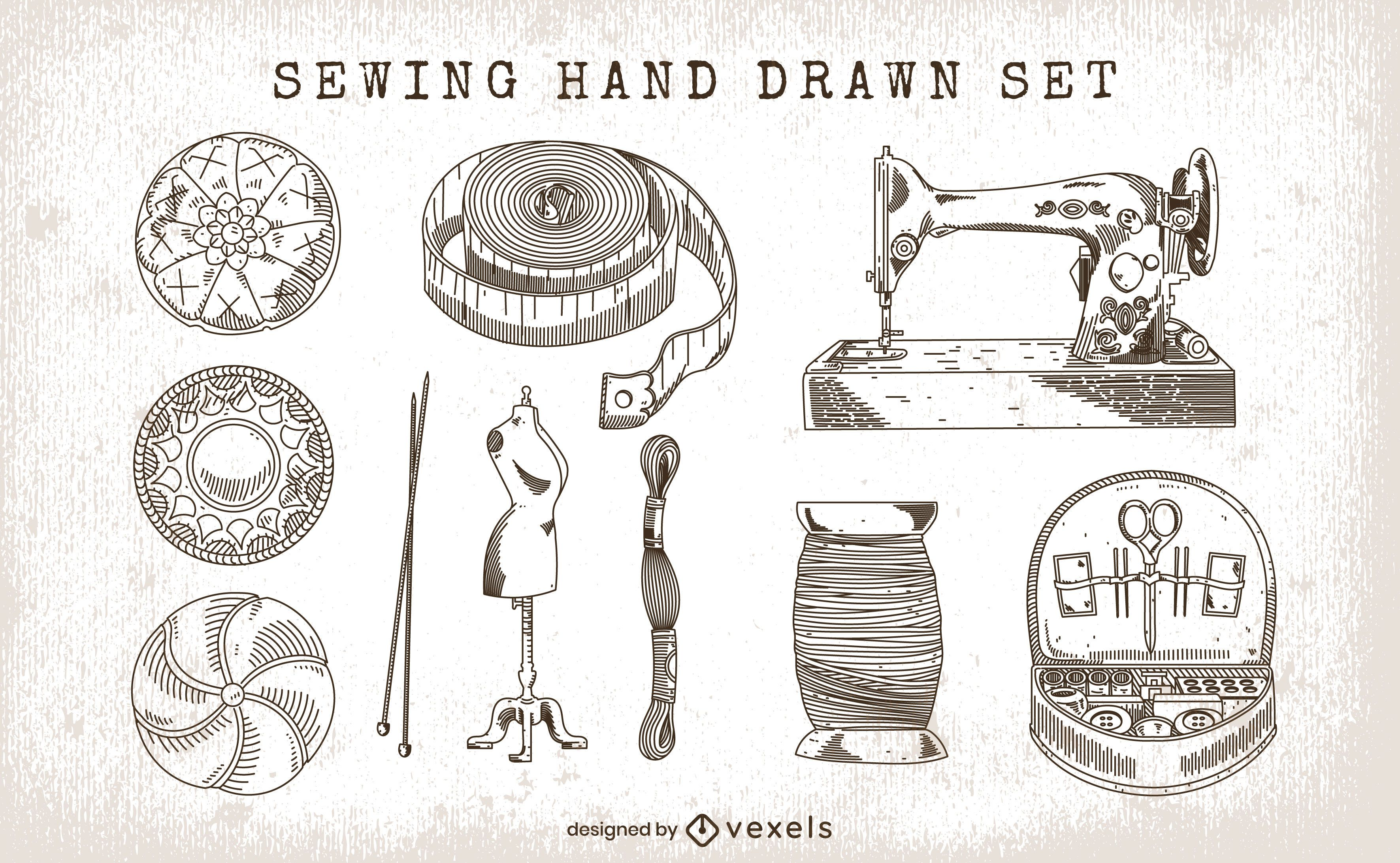 Conjunto de costura de elementos desenhados à mão
