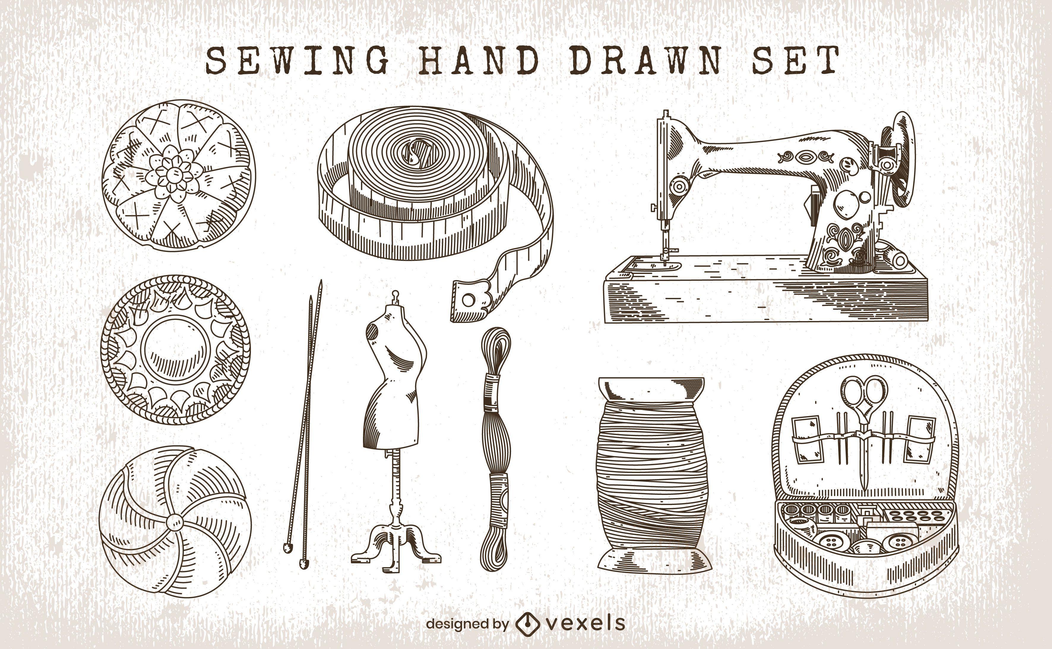 Conjunto de costura de elementos dibujados a mano.