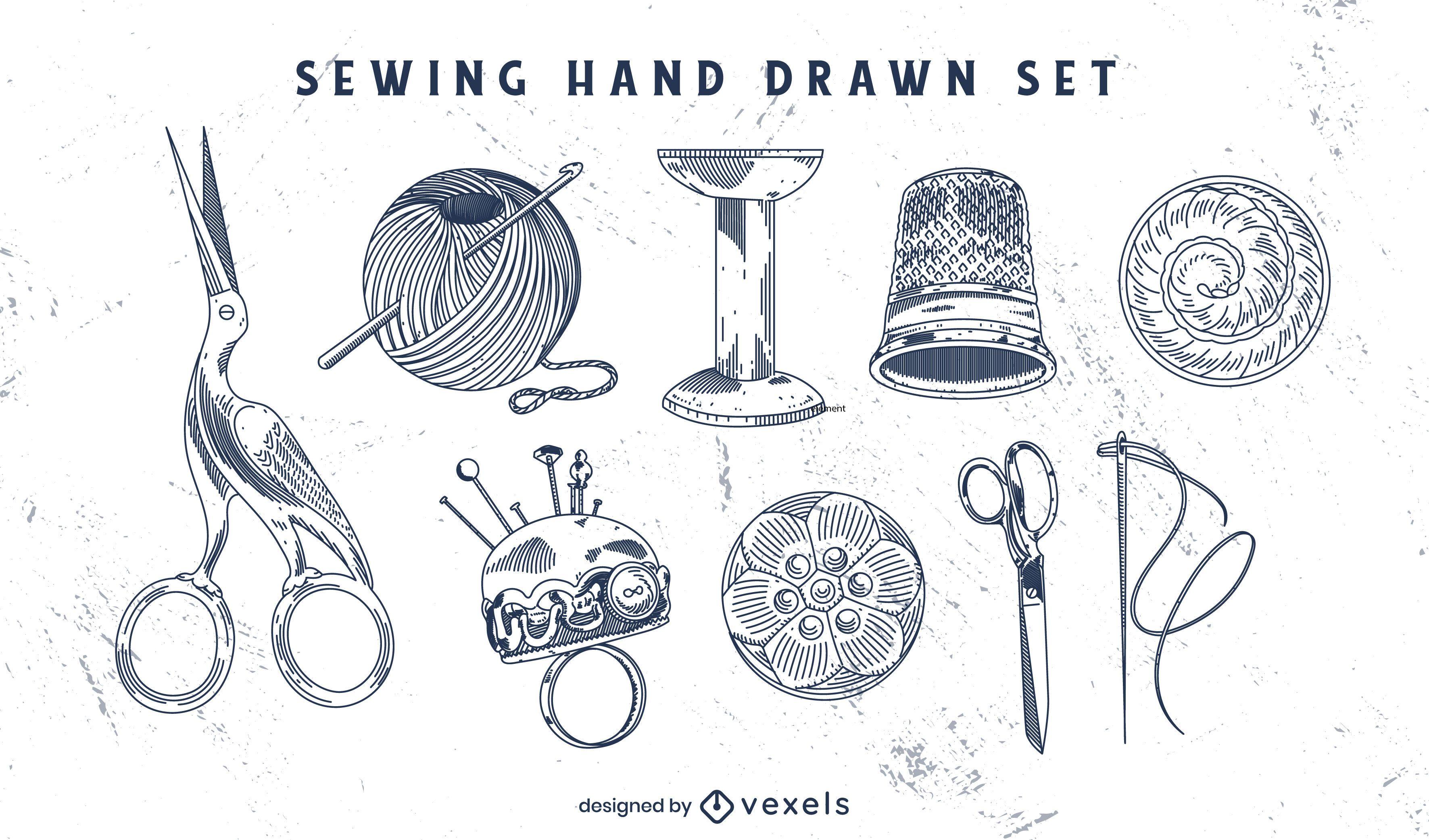 Conjunto de elementos de costura à mão desenhada