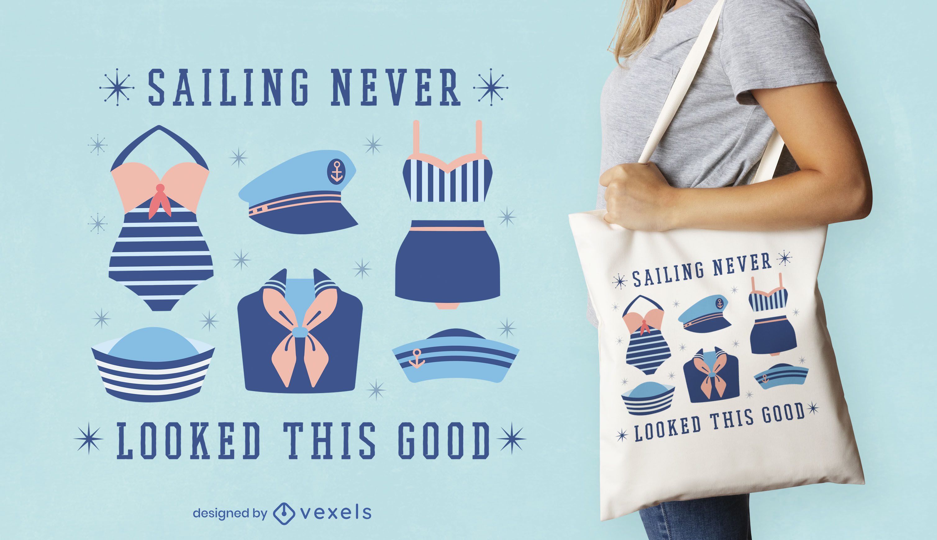 Sailing clothing items tote bag design