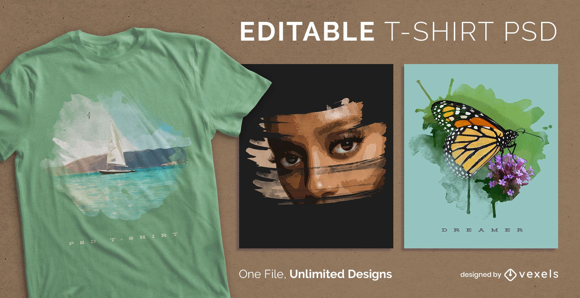 Aquarellkunst skalierbares T-Shirt PSD