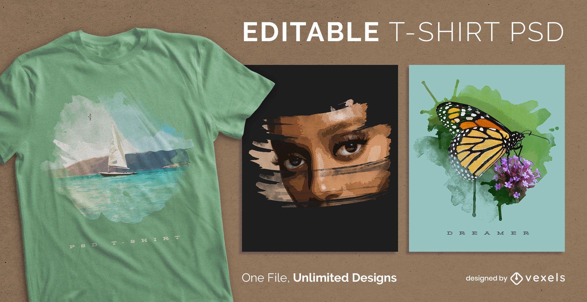 T-shirt escal?vel arte aquarela psd