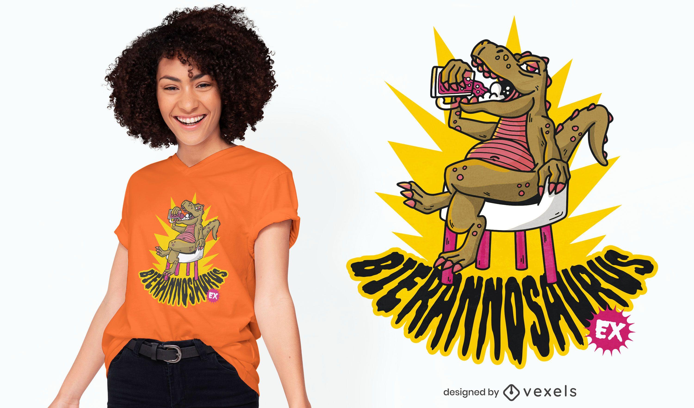 Diseño de camiseta de cerveza t-rex.