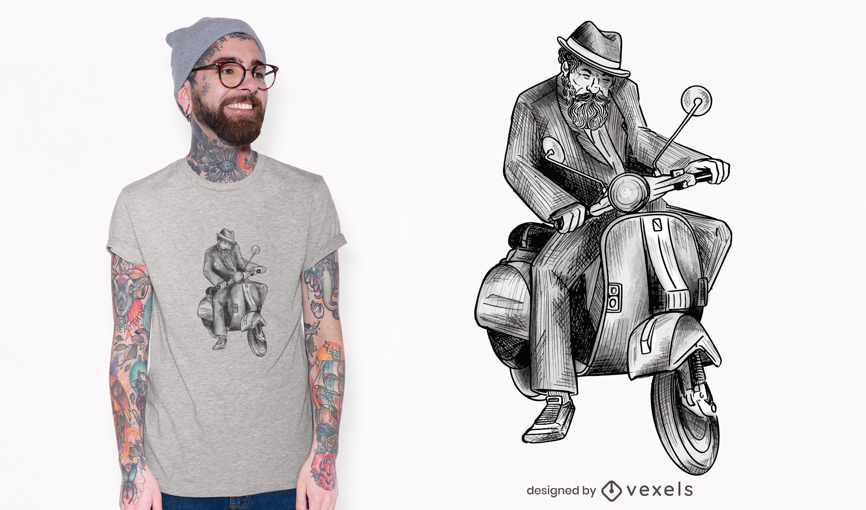 Homem em design de camiseta vespa