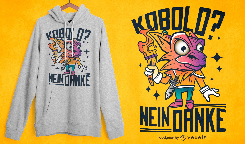 Diseño de camiseta de dibujos animados de criatura alemana kobold