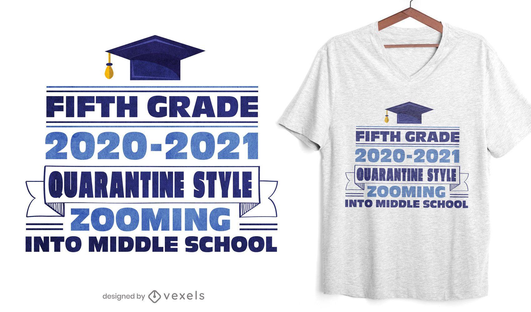 Diseño de camiseta estilo cuarentena de quinto grado.