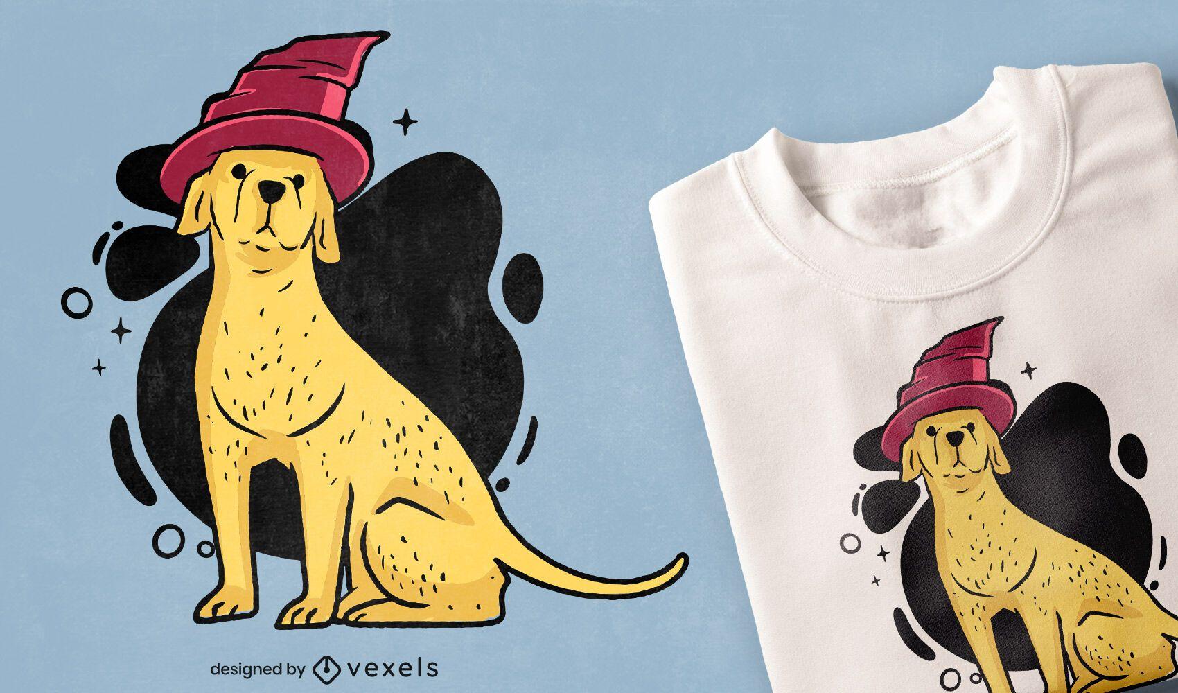 Diseño de camiseta de perro con sombrero de mago