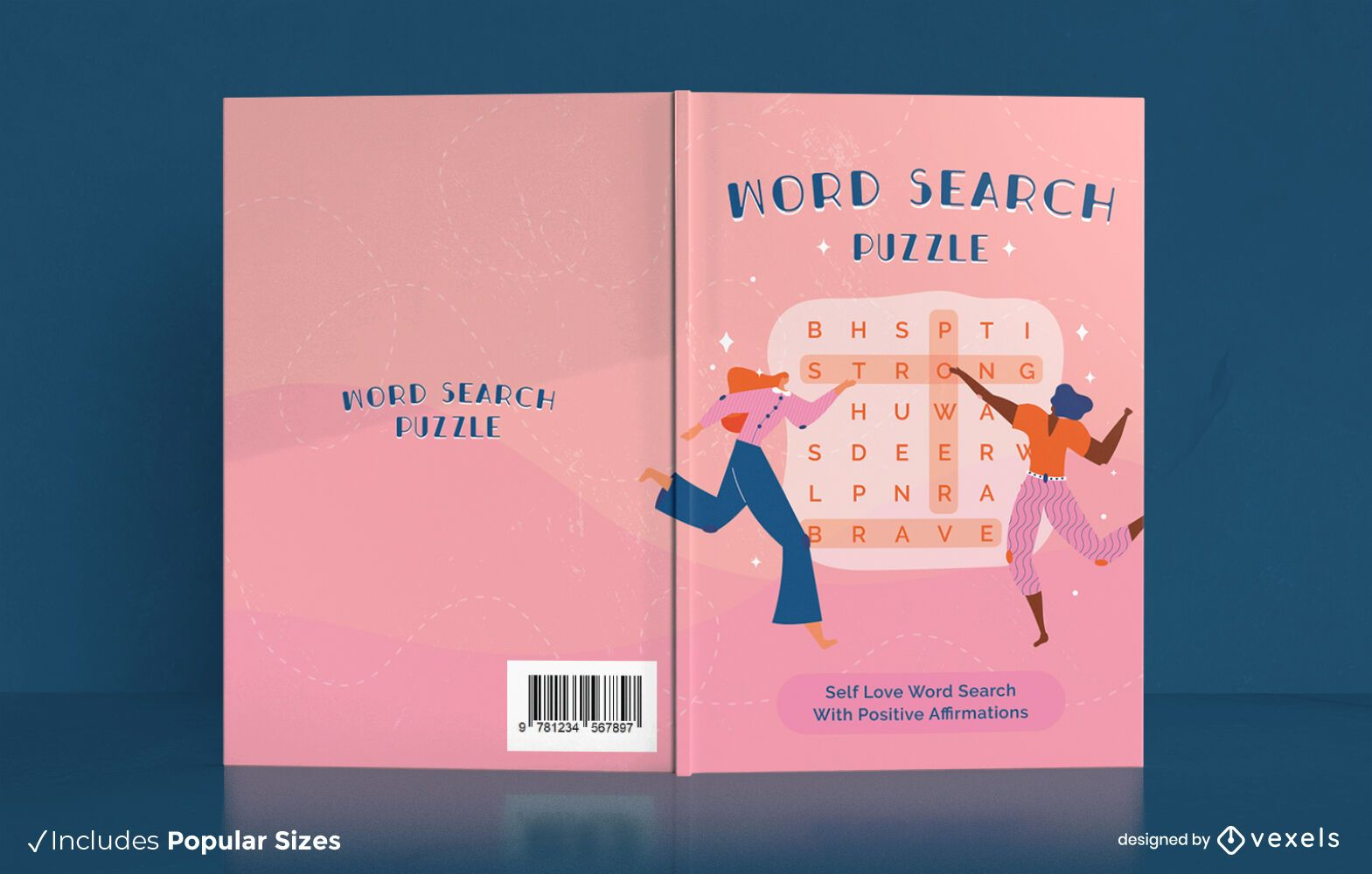 Design de capa de livro de quebra-cabeças de busca de palavras