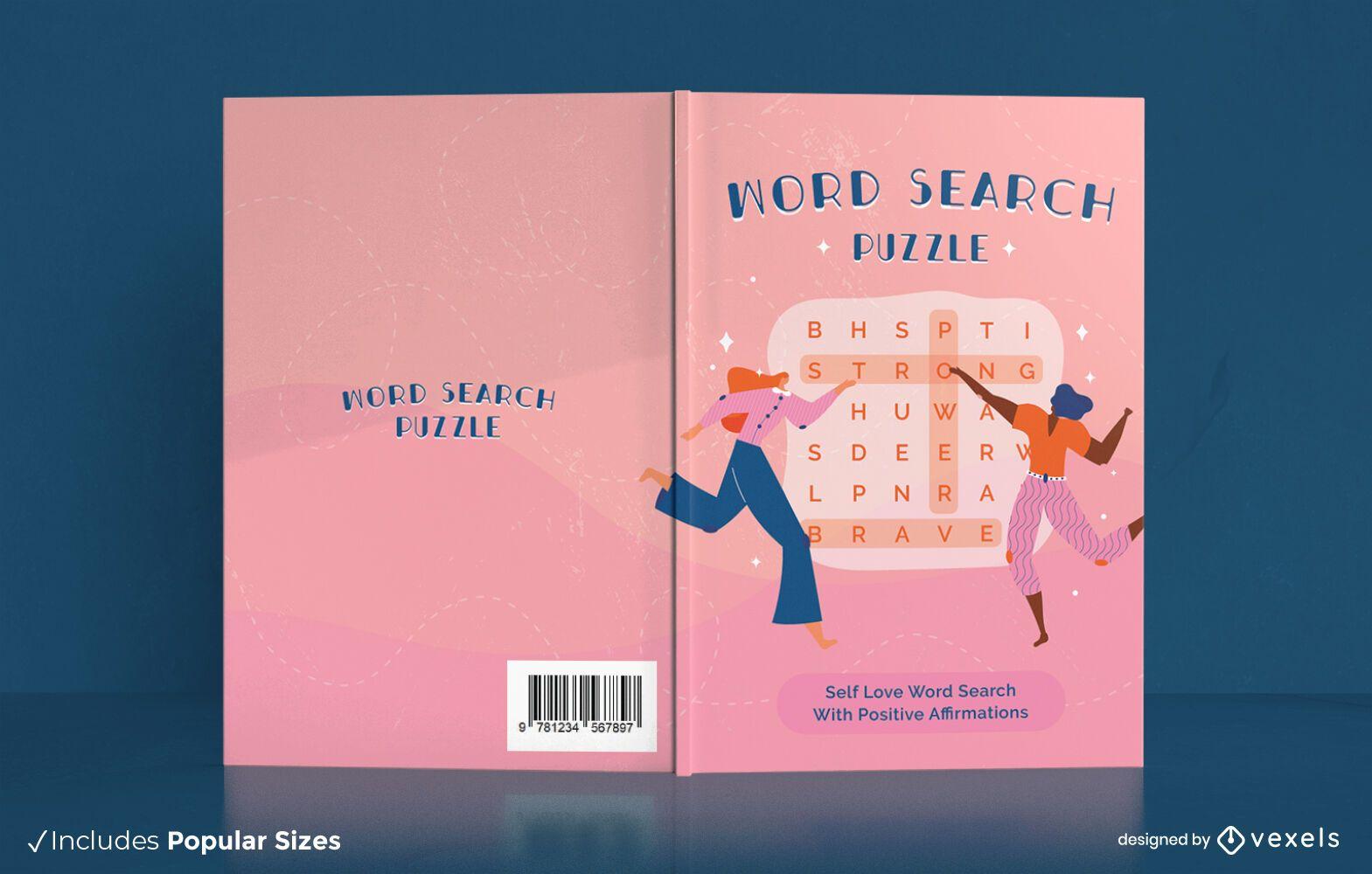 Diseño de portada de libro de rompecabezas de búsqueda de palabras