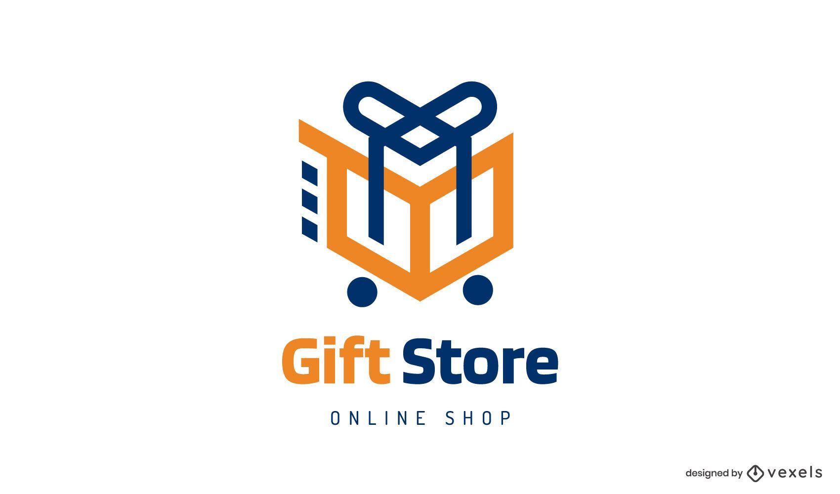 Design do logotipo do carrinho da loja de presentes