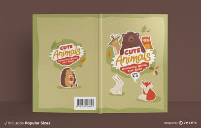 Cute animals coloring book cover design