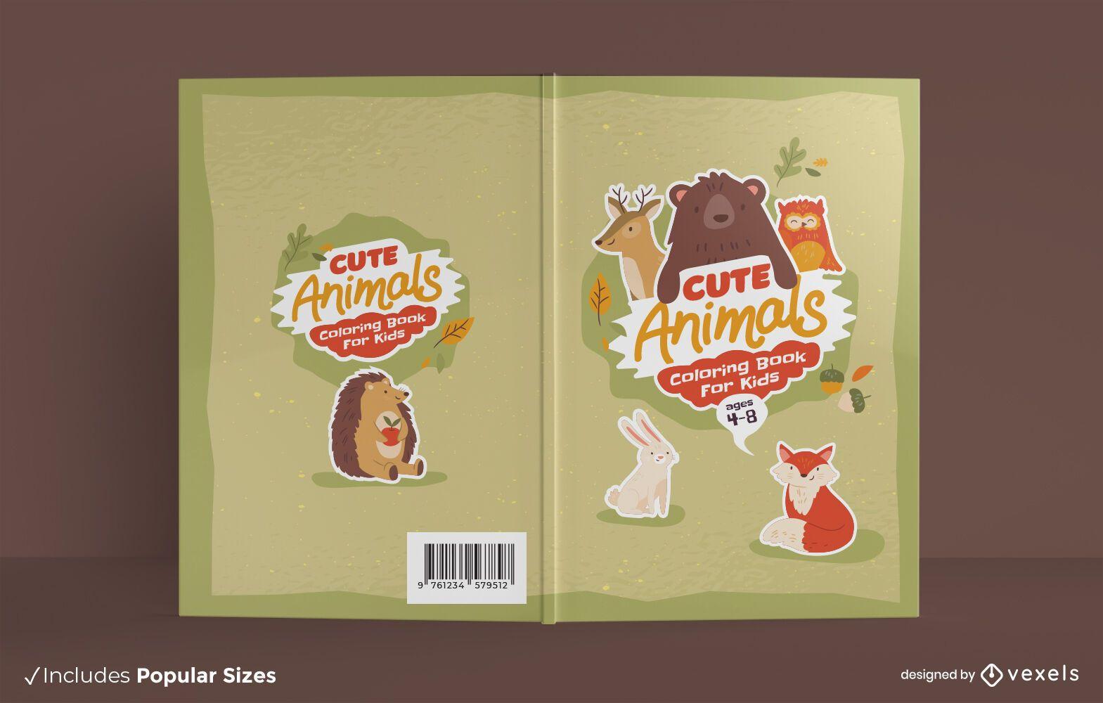 Niedliche Tiere Malbuch Cover-Design