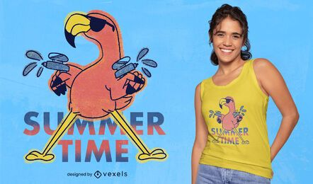 Camiseta verano flamingo doodle psd