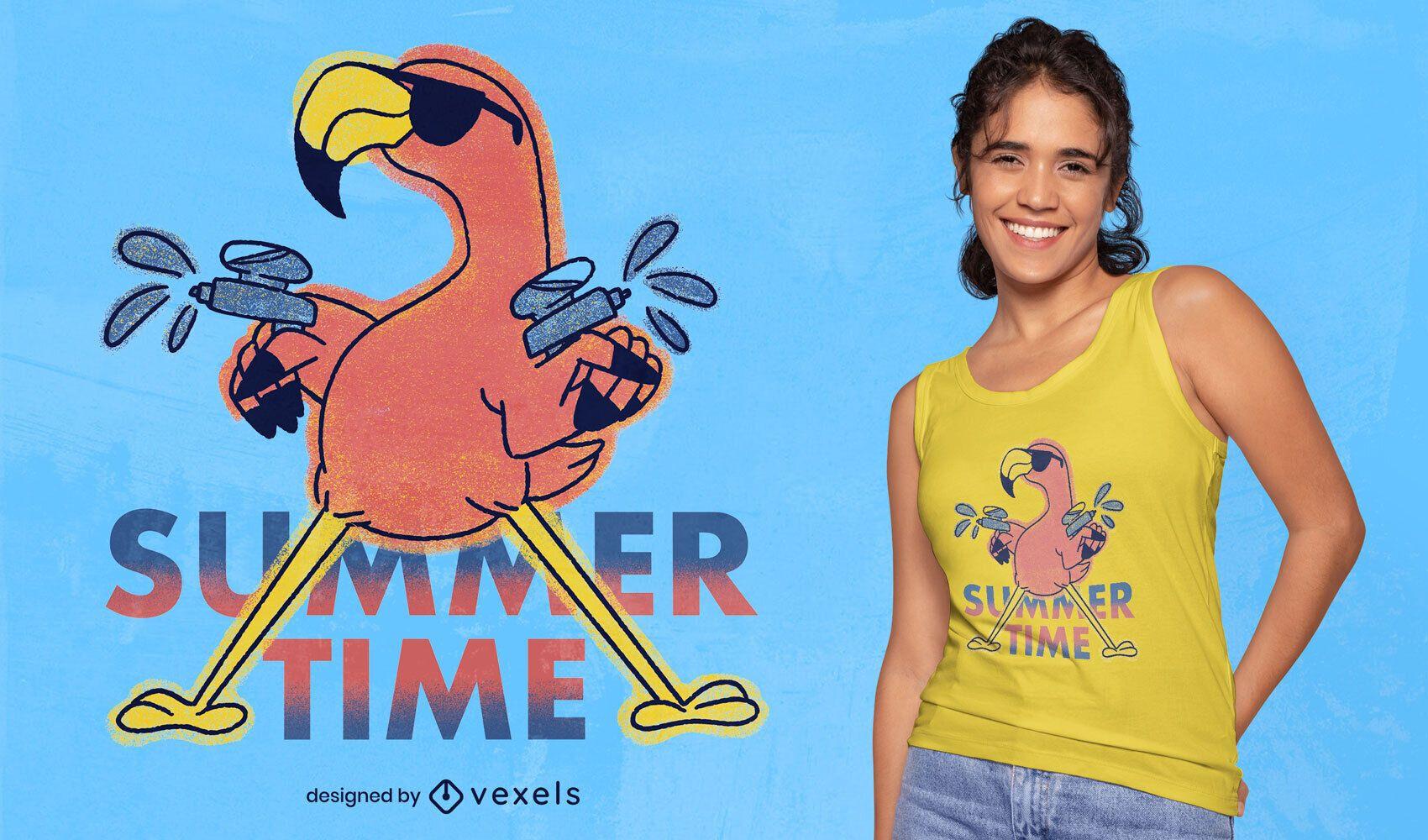 Camiseta de flamingo doodle psd para o verão