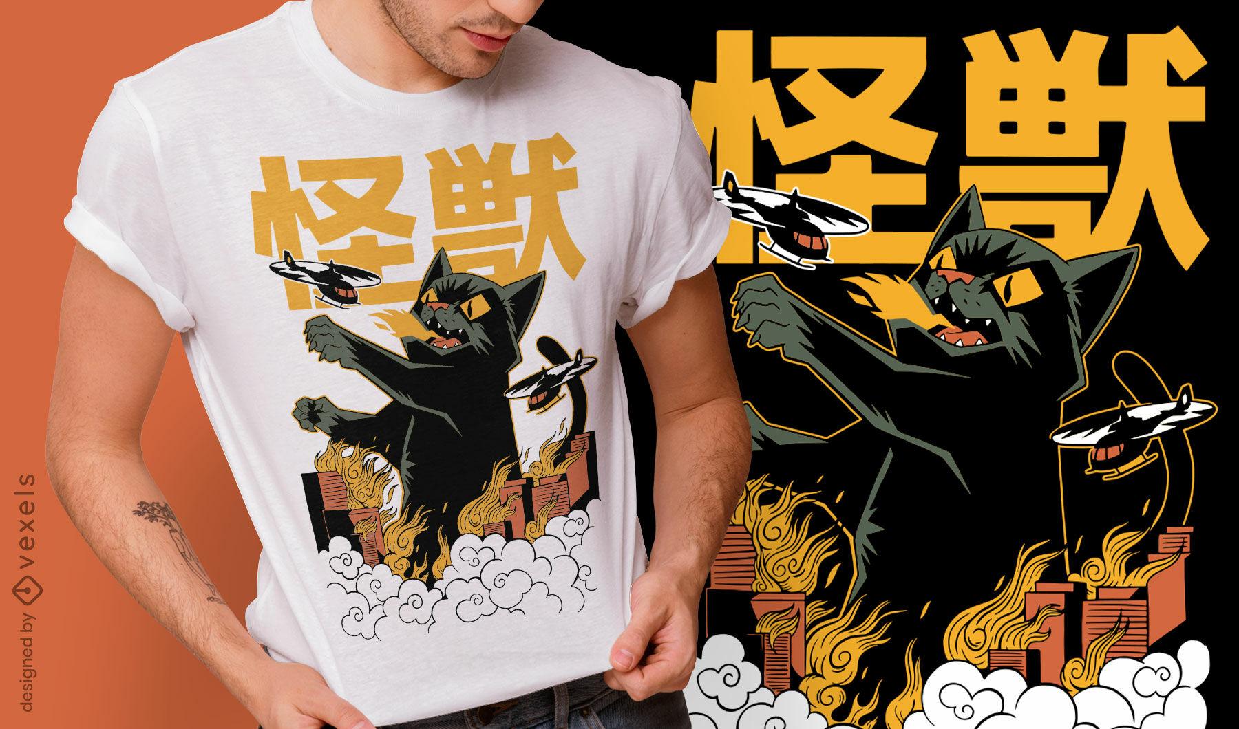Design de camiseta do monstro do gato anime Kaiju